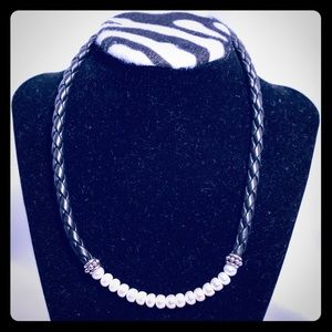 """Silpada Pearl And Black Leather Necklace 18"""""""